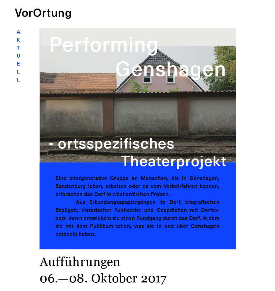 Theaterplakat zu Theaterprojekt in Genshagen vom 06. - 08. 10. 2017